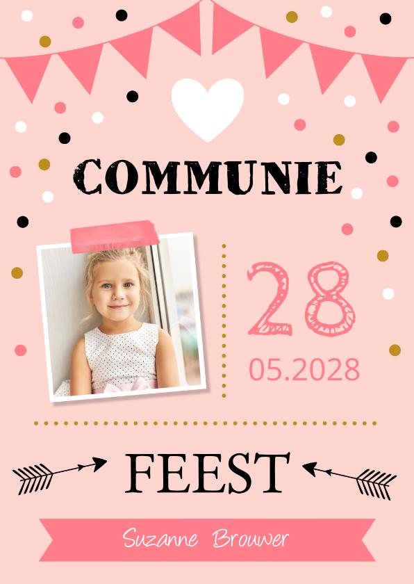 Communiekaarten - Communiekaart foto slinger confetti meisje
