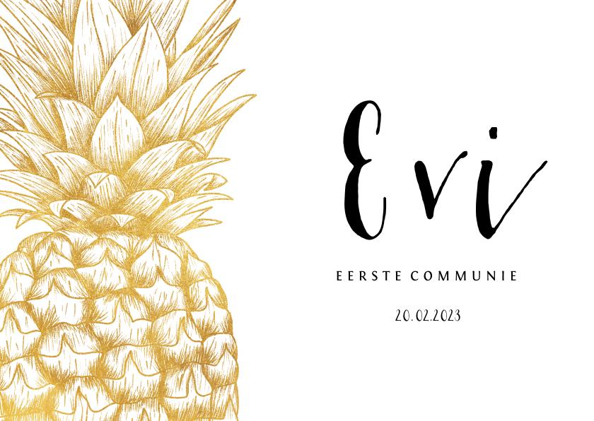 Communiekaarten - Communiekaart gouden ananas aanpasbare kleur