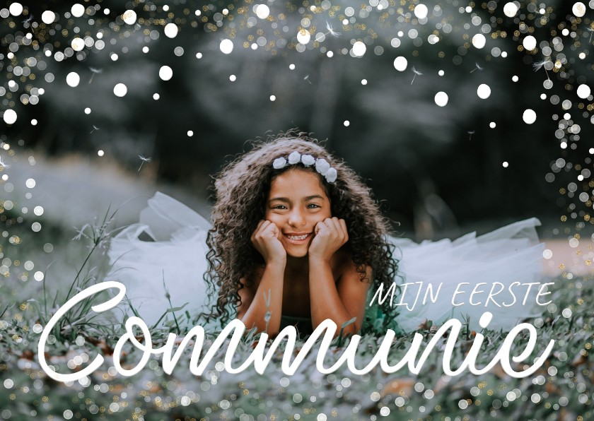 Communiekaarten - Communiekaart grote foto confetti kader
