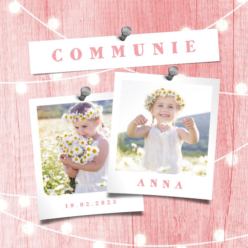 Communiekaarten - Communiekaart houtlook roze lampjes met foto
