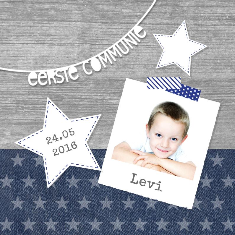 Communiekaarten - Communiekaart jongen sterren foto letterslinger