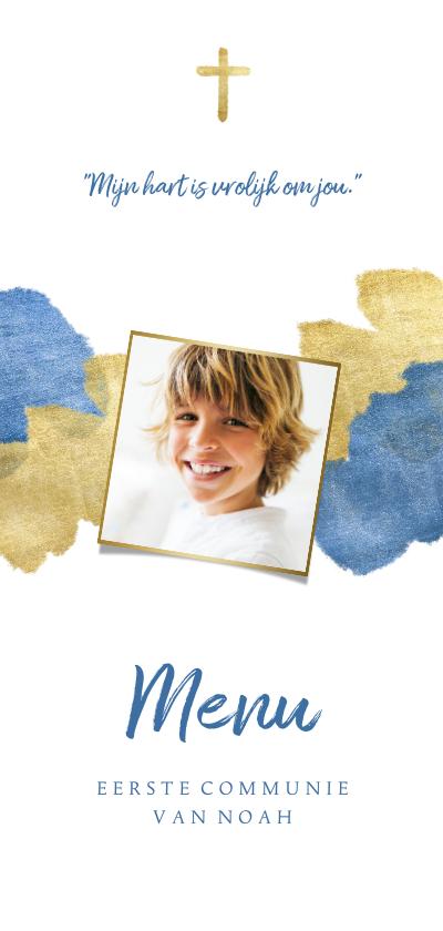 Communiekaarten - Communiekaart menu blauw aquarel metallic