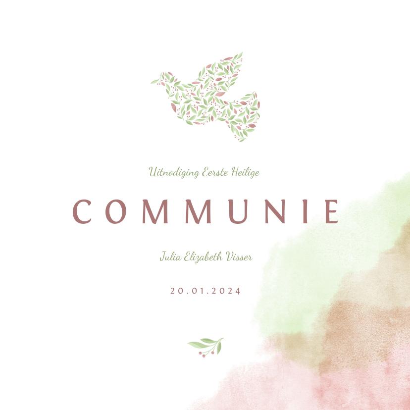 Communiekaarten - Communiekaart met duif van bloemen en waterverf