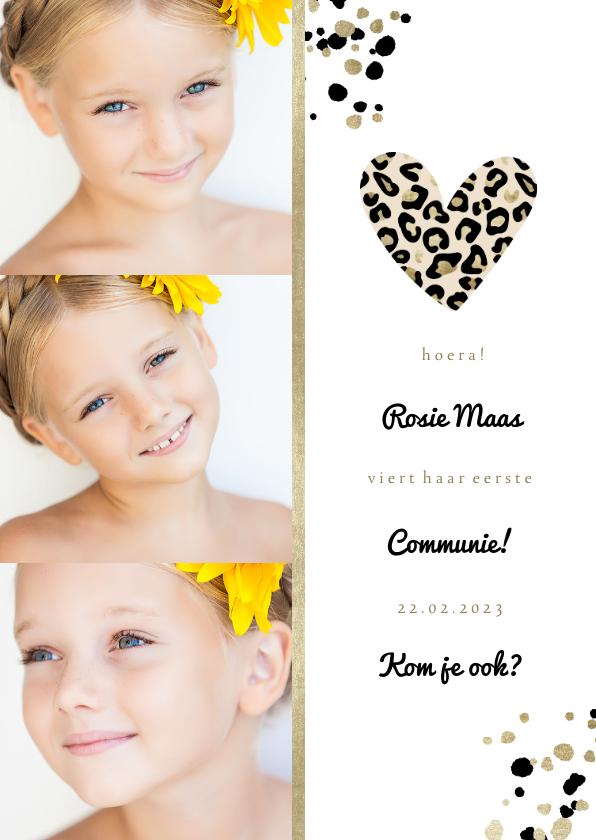 Communiekaarten - Communiekaart met foto's en panterprint hartje