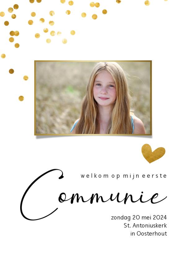 Communiekaarten - Communiekaart met gouden confetti stippen en eigen foto