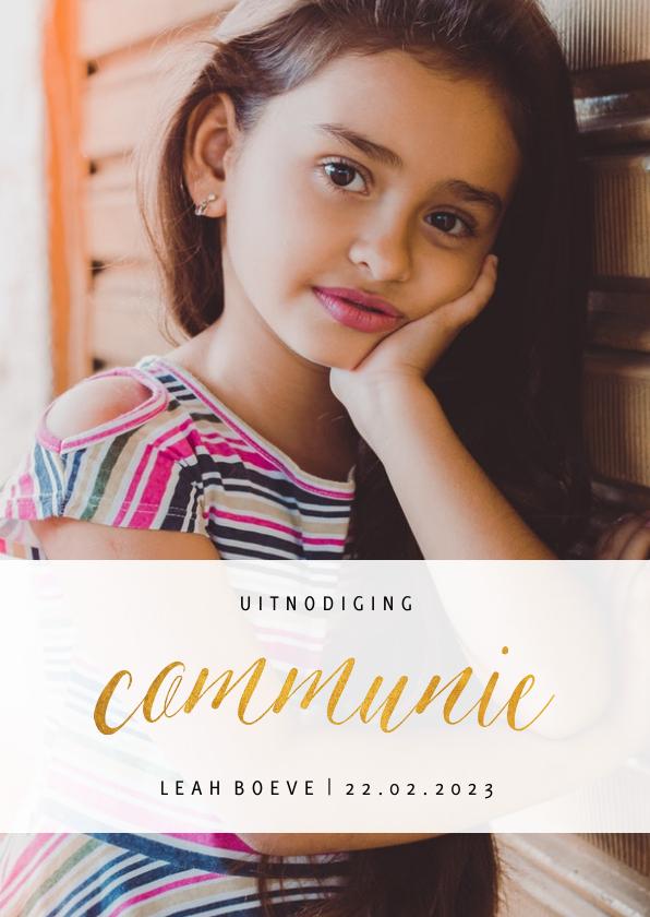 Communiekaarten -  Communiekaart met grote foto en goudlook communie