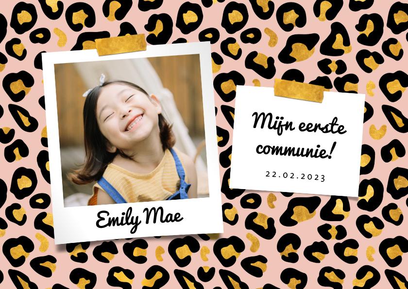 Communiekaarten - Communiekaart panterprint met goudlook en foto