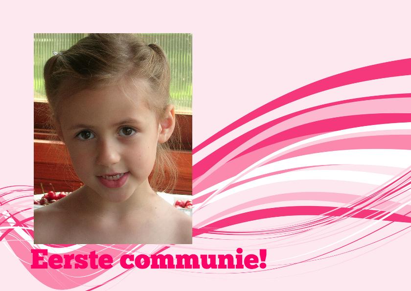 Communiekaarten - Communiekaart roze golven