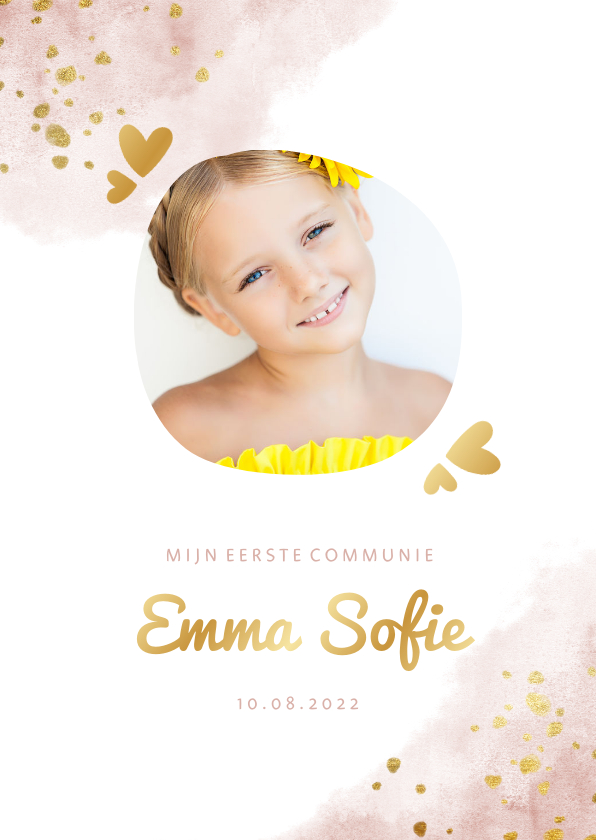 Communiekaarten - Communiekaart roze met foto, gouden hartjes en waterverf