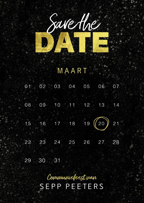 Communiekaarten - Communiekaart save the date jongen goud spetters