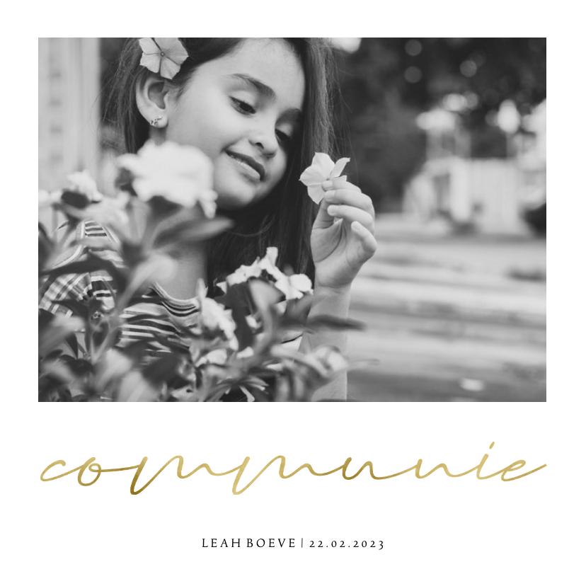 Communiekaarten - Communiekaart simpel met foto en goudlook communie