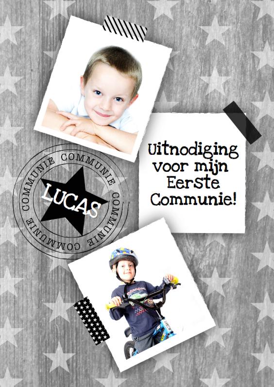 Communiekaarten - Communiekaart sterren hout foto's