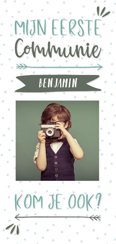 Communiekaarten - Communiekaart typografisch met confetti en eigen foto jongen