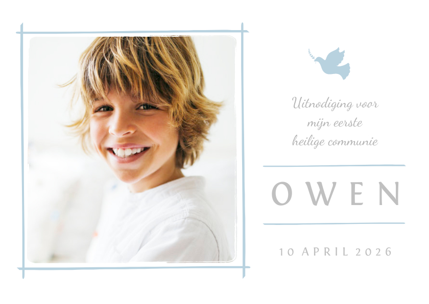 Communiekaarten - Communiekaart uitnodiging foto en blauw duifje