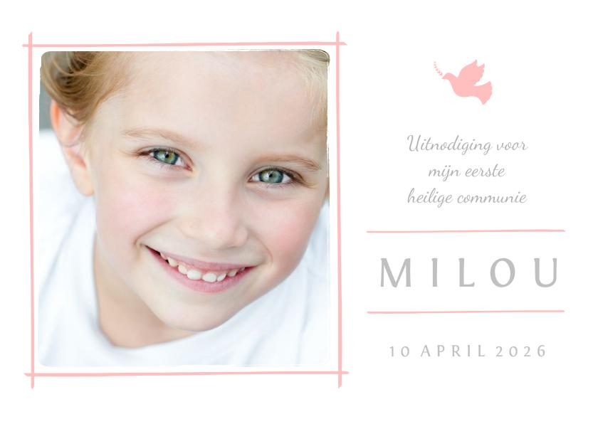 Communiekaarten - Communiekaart uitnodiging foto en roze duifje