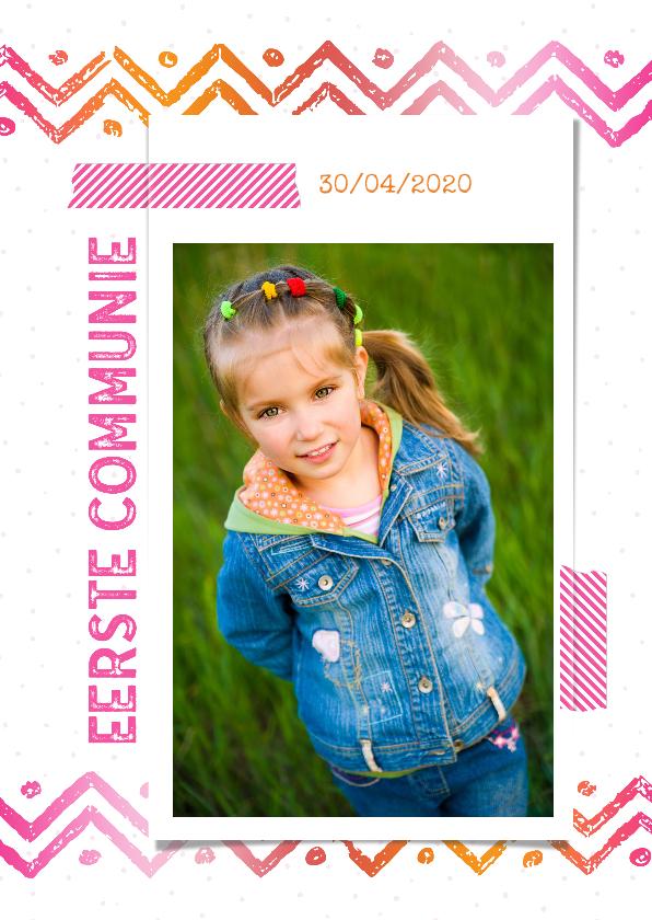 Communiekaarten - Communiekaart washi tape roze-oranje