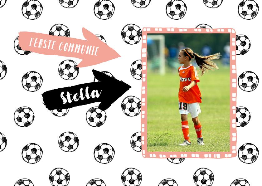Communiekaarten - Eerste communie voetbal meisje