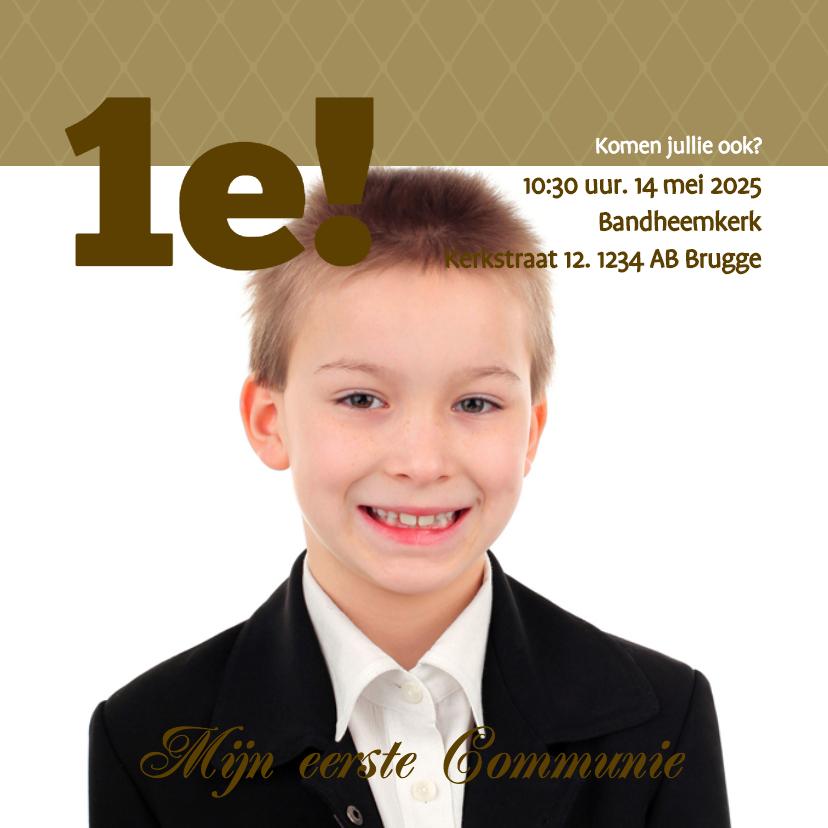 Communiekaarten - Foto 4kant 1e! Communie Boy - BK