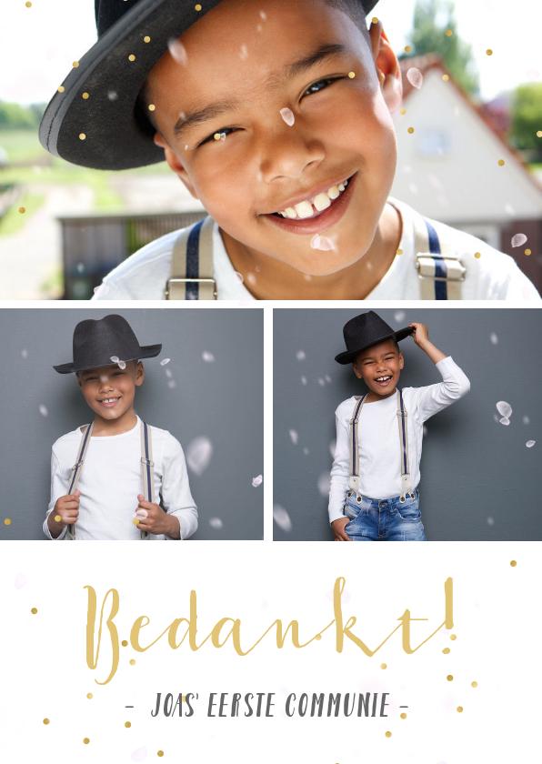 Communiekaarten - Fotocollage communie bedankkaartje met 3 foto's