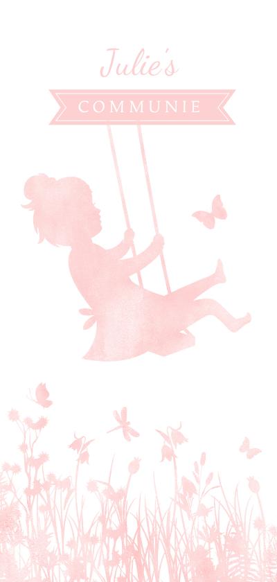 Communiekaarten - Langwerpige communiekaart silhouet meisje op schommel