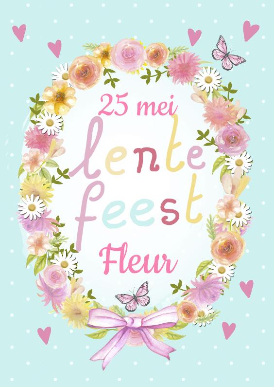 Communiekaarten - Lentefeest bloemenkrans