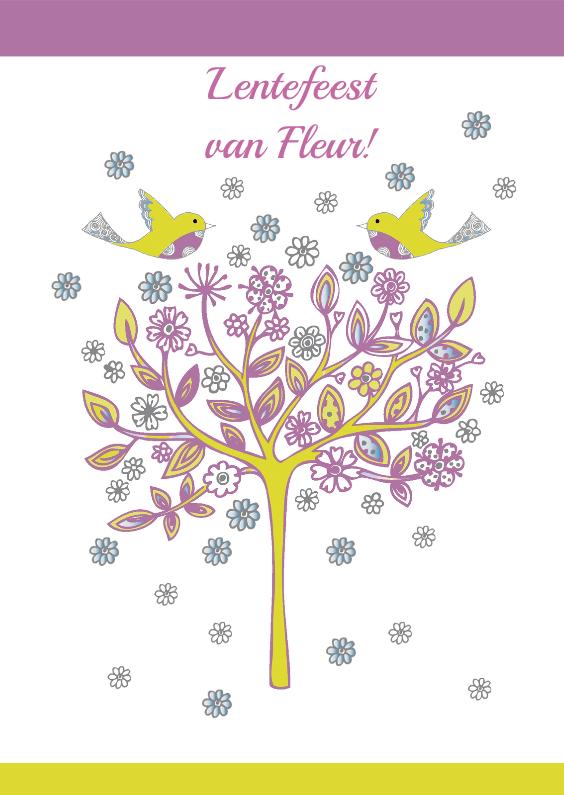 Communiekaarten - lentefeest boom