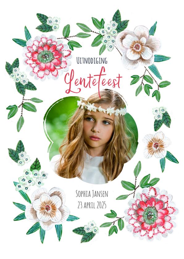 Communiekaarten - Lentefeest botanisch bloemen uitnodiging