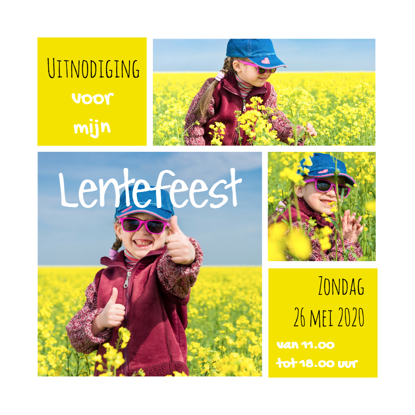 Communiekaarten - Lentefeest collage geel OT