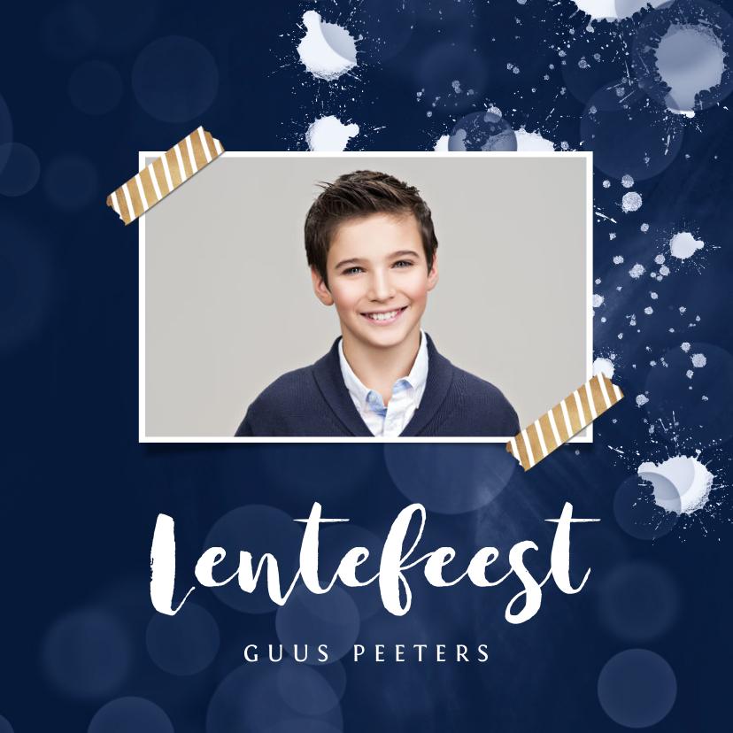 Communiekaarten - Lentefeest uitnodiging modern stijlvol spetters blauw foto