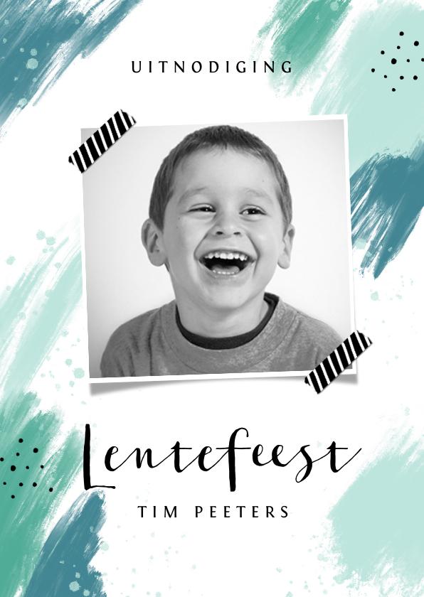 Communiekaarten - Lentefeest uitnodigingskaart jongen modern verf foto