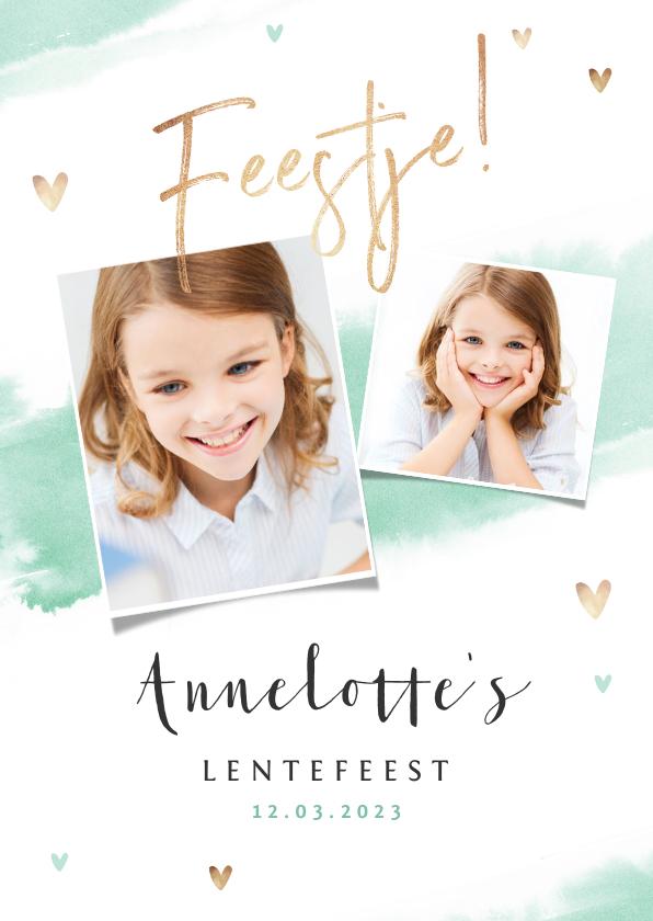 Communiekaarten - Lentefeest uitnodigingskaart meisje gouden hartjes waterverf