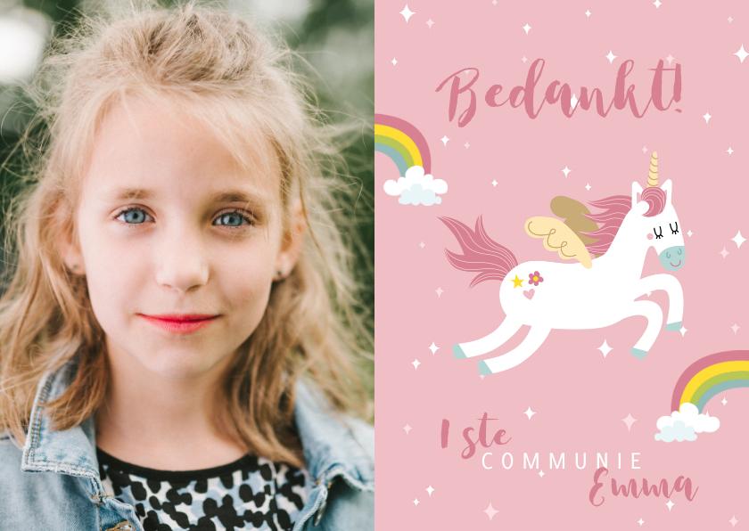 Communiekaarten - Lief bedankkaartje eerste communie eenhoorns en regenbogen