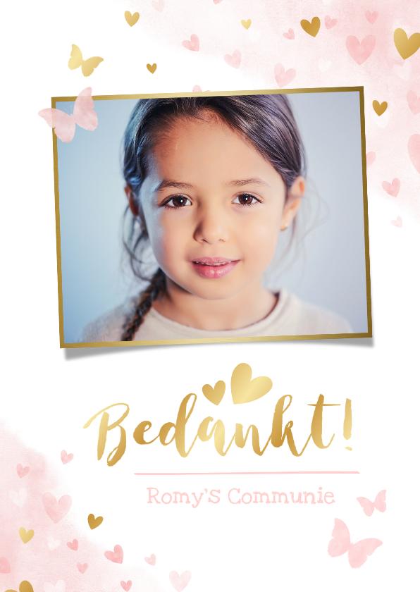 Communiekaarten - Lief bedankkaartje voor een meisjes communie vlinders hartje