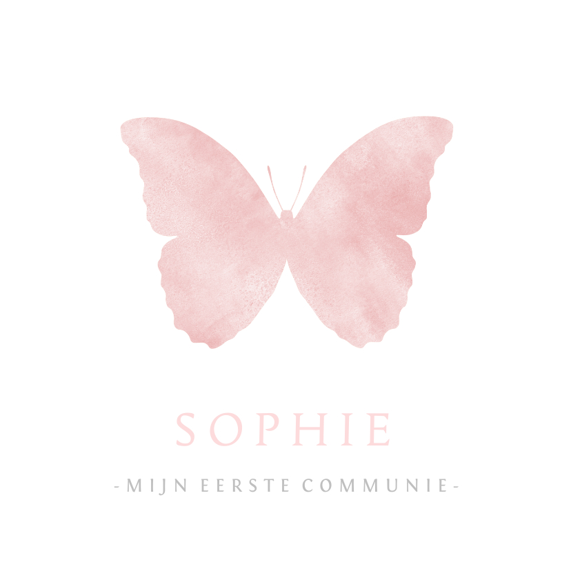 Communiekaarten - Lieve communiekaart met een roze silhouet van een vlinder