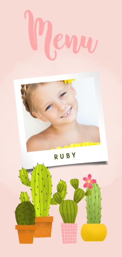 Communiekaarten - Lieve menukaart eerste communie met foto en cactussen