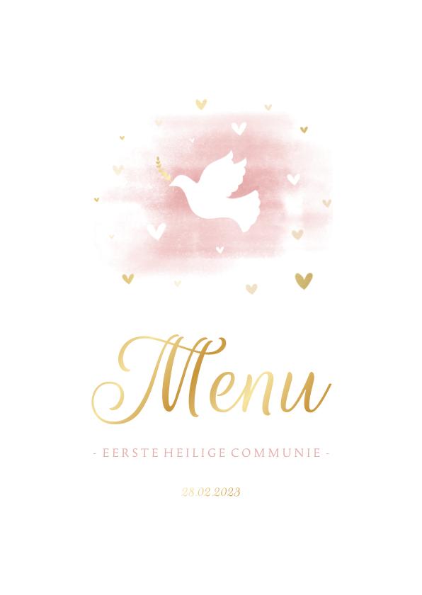 Communiekaarten - Menukaart communie duif met hartjes en waterverf