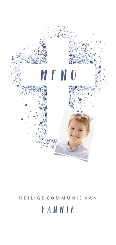Communiekaarten - Menukaart communie foto & kruis verfspetters blauw