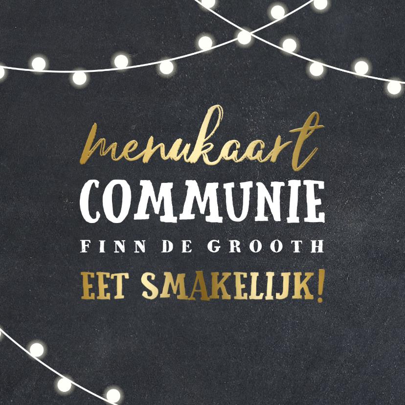 Communiekaarten - Menukaart communie lampjes goud