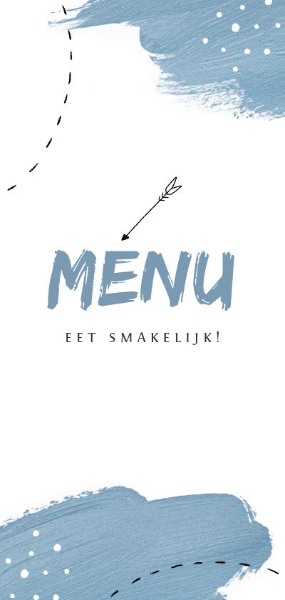 Communiekaarten - Menukaart communie lente feest blauw verf pijltje