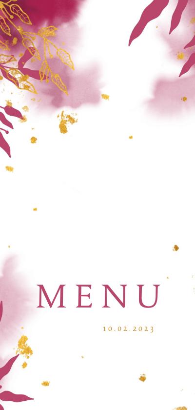 Communiekaarten - Menukaart communie met gouden bladeren en roze waterverf