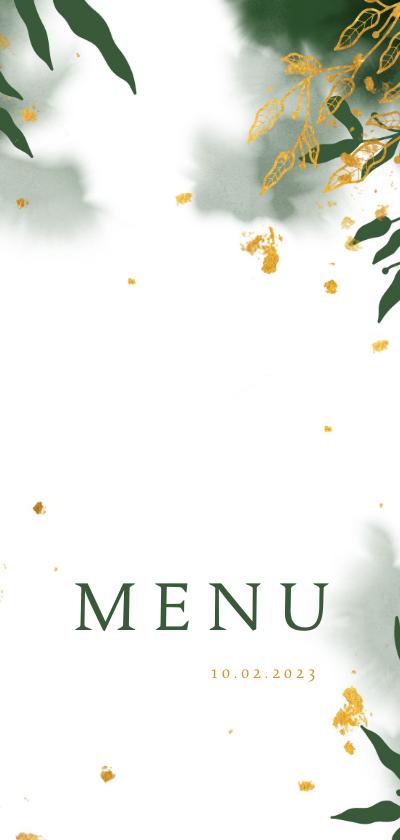 Communiekaarten - Menukaart communie met groene waterverf en gouden bladeren