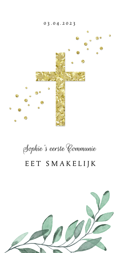 Communiekaarten - Menukaart communie vormsel christelijk goud takje