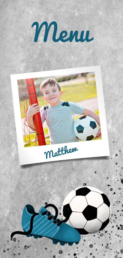 Communiekaarten - Menukaart eerste communie met voetbal, betonlook en foto