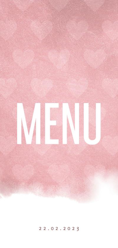 Communiekaarten - Menukaart lief waterverf roze met hartjes