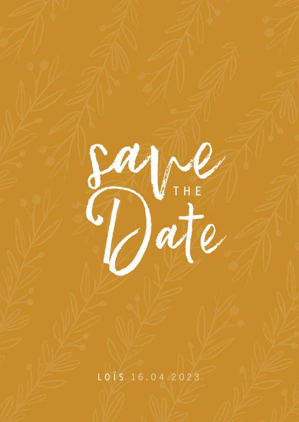 Communiekaarten - Save the date communie of lentefeest oker en takjes