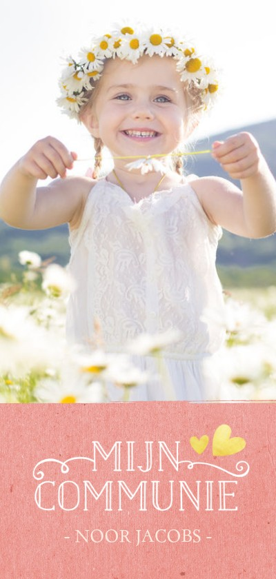 Communiekaarten - Stijlvolle langwerpige communiekaart met grote foto en roze