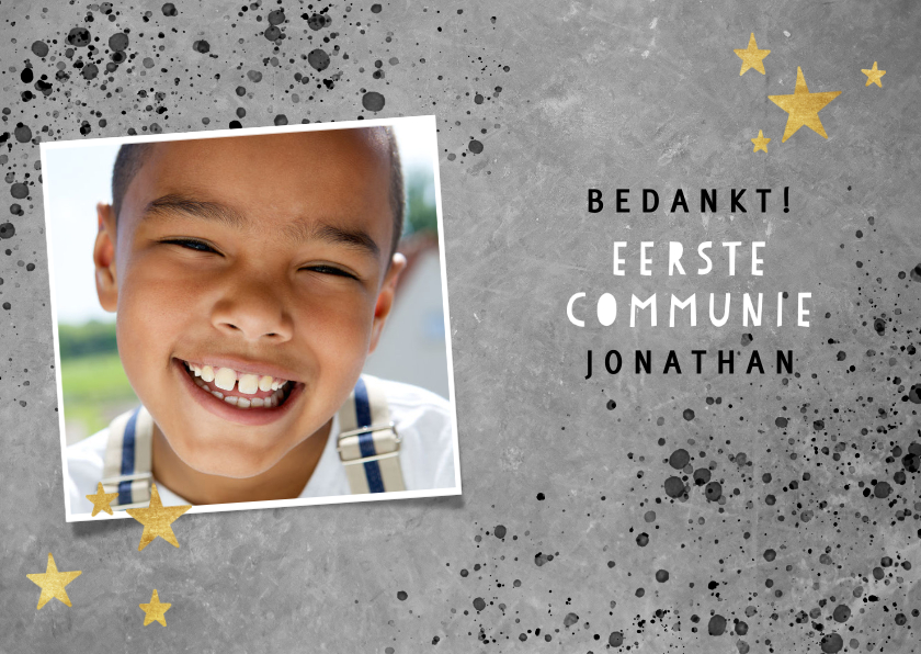 Communiekaarten - Stoer bedankkaartje eerste communie met beton en spetters