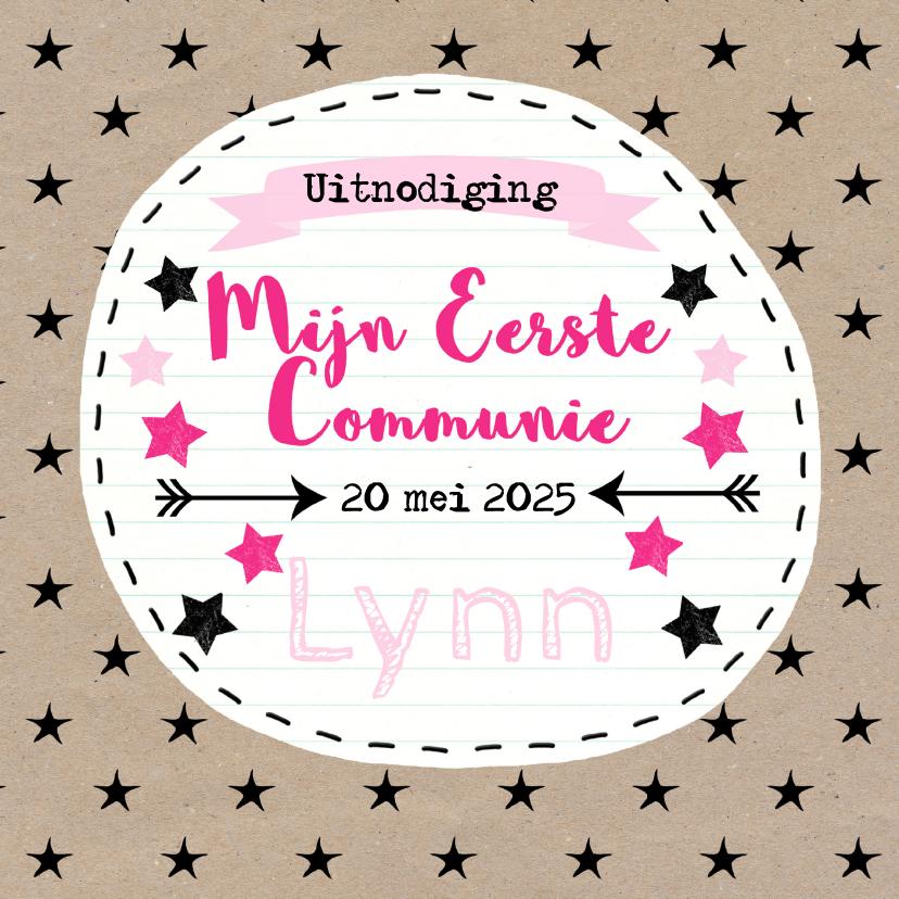 Communiekaarten - Stoer communie sterren meisje