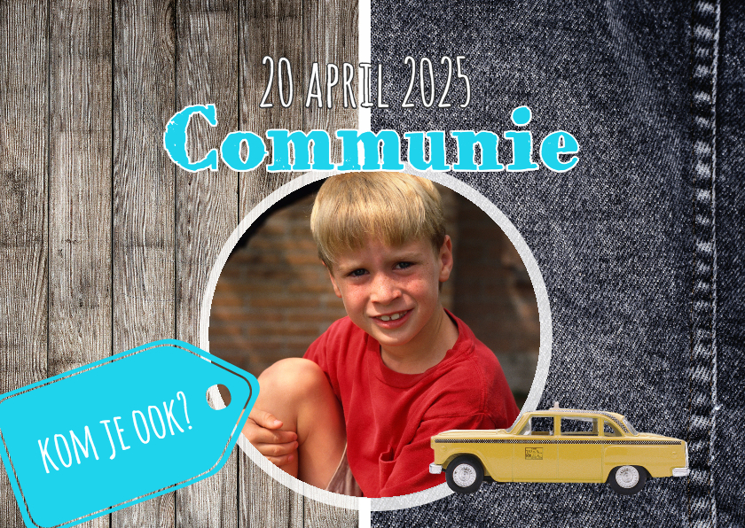 Communiekaarten - Stoere kaart voor communie - DH