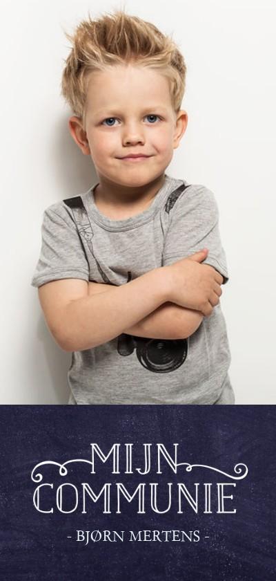 Communiekaarten - Stoere langwerpige communie uitnodiging voor een jongen